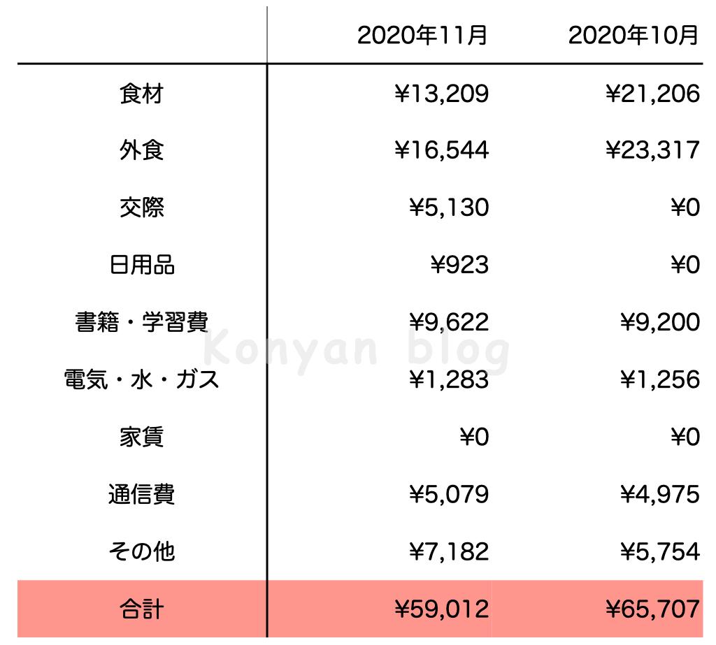 2020年11月生活費 (日本円)