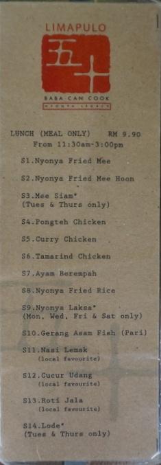 limapulo menu