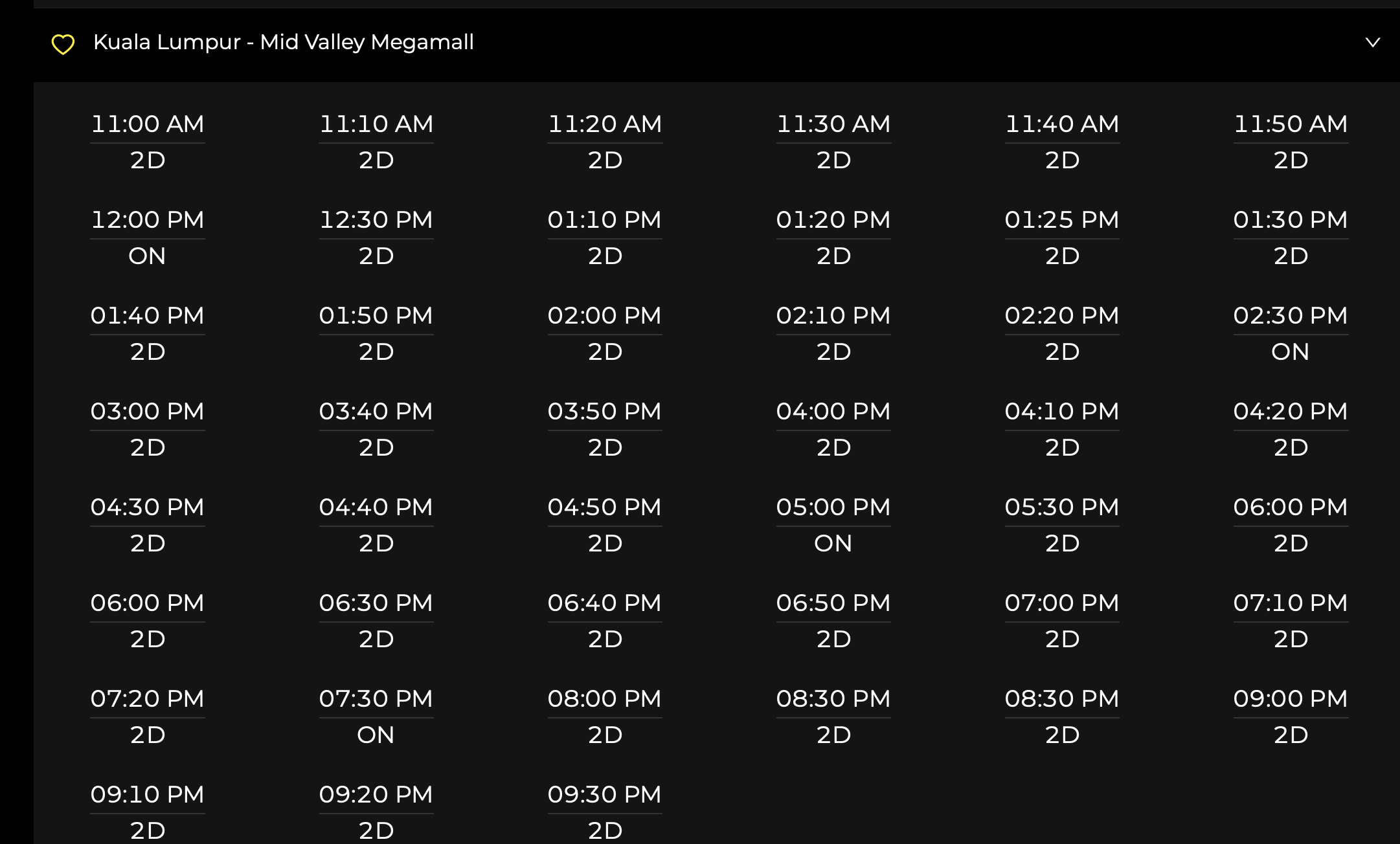 time schedule of golden screen cinema GSC